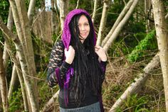 Festival Hood, Purple Hood with falls, scoodie, Gypsy Clothes, Intergalactic Apparel, Hood... $28