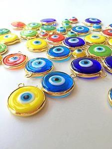 SALE 22mm glass evil eye charms, translucent opaque evil eye pendants,          #beads#diy#evileye#glassbeads#beadsforbracelet#beadsfornecklace#evileyebeads#ojoturco#maldeojo#redbeads#yellowbeads#greenbeads#bluebeads            – Evileyefavor Wedding Giveaways, Greek Wedding, Evil Eye Jewelry, Evil Eye Pendant, Evil Eye Charm, Matte Gold, Murano Glass, Jewelry Supplies, Glass Beads