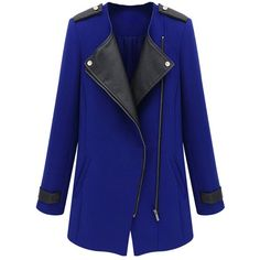 New Fashion Women Coat PU Leather Patchwork Zipper Front Warm Jacket... (1230 RSD) ❤ liked on Polyvore featuring outerwear
