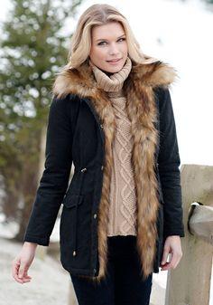 Black Military-Style Faux Fur-Lined Anorak Jacket Donna Salyers' Fabulous Furs #fauxfur #FabulousFurs #DonnaSalyers #crueltyfree #fallfashion #winterfashion #ifakeit #fakefur #furcoat #furjacket #faux #black #donnaspicks #blackjacket #jacket