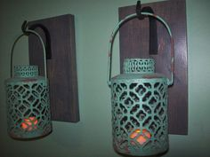 TURQUOISE Gray Hanging LANTERN SET Pair on Wood Board / Wrought iron hooks / Wall Sconce Rustic Lantern Bathroom Bedroom Decor Wall Decor by RusticPleasures on Etsy