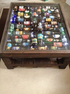 Items similar to beer bottle coffee table with led light .- Ähnliche Artikel wie Beer Bottle Coffee Table With LED lights auf Etsy Items similar to beer bottle coffee table with led lights on etsy - Man Cave Basement, Garage Man Caves, Garage Lighting, Man Cave Bar, Men Cave, Bars For Home, Wood Projects, Diy Furniture, Furniture Plans