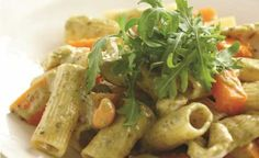 Why we love pesto rigatoni with pumpkin and chicken 1. One word: pesto. 2. Make a big pot and take leftovers for lunch. 3. Serve with salad for a well-balanced meal.   Ingredients Serves 4 400g peeled pumpkin, cut into bite-sized cubes 1 tbsp olive oil 350g rigatoni pasta 500g chicken breast, cut into strips 2 tsp cornflour 185ml can light evaporated milk 130g jar basil pesto ½ cup macadamia nuts or pine nuts, roughly crushed and roasted Rocket leaves, to serve   Directions 1. Preheat oven…