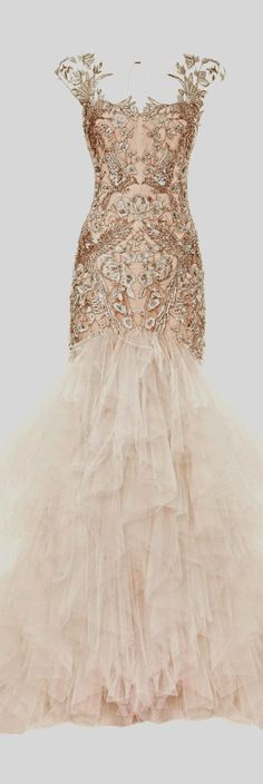 Beautiful nude blush gown with a cascade of dreamy layers & exquisite embroidery detail; romantic dress // Marchesa