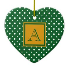 Cute Heart Shaped Ornament, Green & White Polka Dots with Gold, add your Initial on the Gold & Green Label #Christmas #ornament #heart #monogram