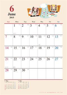 【2015年6月】 かわいい犬のイラスト カレンダー A4タテ