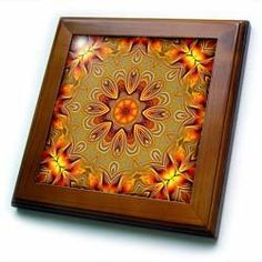 """Adela Room Mandala - 8x8 Framed Tile by Houk. $22.99. Inset high gloss 6"""" x 6"""" ceramic tile.. Keyhole in the back of frame allows for easy hanging.. Solid wood frame. Cherry Finish. Dimensions: 8"""" H x 8"""" W x 1/2"""" D. Adela Room Mandala Framed Tile is 8"""" x 8"""" with a 6"""" x 6"""" high gloss inset ceramic tile, surrounded by a solid wood frame with predrilled keyhole for easy wall mounting."""