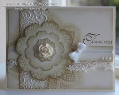 Daydream Medallions, Hello Doily and Lacy & Lovely stamp sets from Stampin' Up! plus a few pieces from the Artisan Embellishments Kit.