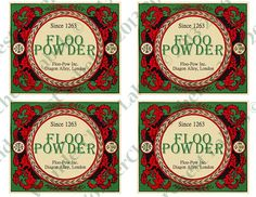 Floo Powder labels printable. Use it for your Harry Potter party or play - you can decorate regular wine and 1L water bottles or regular food cans.