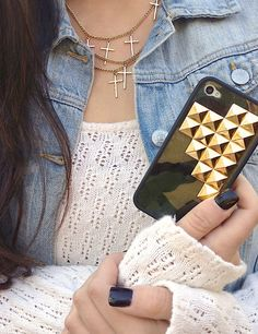 Loving everything in this pic!! Camo Pyramid Wildflower case and Brandy Melville jean vest! :)
