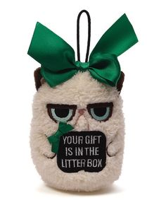 Grumpy Cat 'Your Gift is in the Litter Box' Mini Ornament