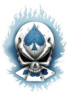 Aces Skull Temporary Tattoos - Skull Mix Tattoos