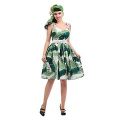 9708fd9b9bf Collectif Mainline Jade Banana Leaf Pin up Swing Dress