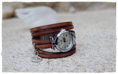Chocolate leather cuff bracelet  straps par KhoutureFactory sur Etsy