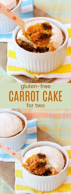 Gluten-Free Carrot Cake for Two - this spring dessert recipe makes two individual moist, tender flourless carrot cakes with a creamy and tangy Greek yogurt cream cheese topping. Just enough to share… but only if you want to! #cupcakesandkalechips #glutenfree #glutenfreecake #carrotcake #dessertfortwo via @cupcakekalechip
