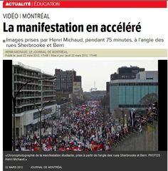 «Chronophotographie de la manifestation étudiante, prise à partir de l'angle des rues Sherbrooke et Berri. PHOTOS Henri Michaud.»