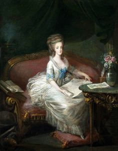 Attributed to Louis-Charles Gautier d'Agoty (1746-1787): Portrait of Queen Marie Antoinette sitting on a Sofa, 18th century.