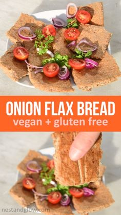This delicious gluten free bread has only two ingredients: onion and flax. High in fiber and nutrition. this recipe can easily be made into crackers. Try this healthy bread for all your dips. Sugar Free Diet, Gluten Free Diet, Foods With Gluten, Gluten Free Recipes, Gourmet Recipes, Vegetarian Recipes, Healthy Recipes, Vegan Snacks, Healthy Snacks