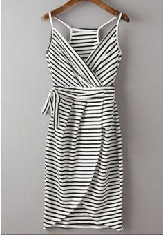 Thin striped, tulip skirt sun dress