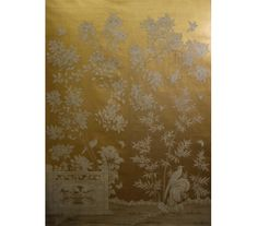"SY-239Handpainted Chinese scenic painted on an antiqued gold leaf background based on vintage Gracie design. Two panels shown.SIZE: Each Panel is 3' Wide x 10' High, Design height 7'6"" PRICE PER PANEL: $1,545"
