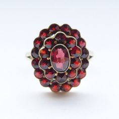 Vintage Bohemian Garnet Ring Vermeil on Sterling Silver - Gorgeous Setting & Stones Size: UK N USA 6 by rubyandjules on Etsy Garnet And Gold, Austro Hungarian, Bohemian Jewellery, Garnet Rings, Vintage Bohemian, Carat Gold, Pretty Flowers, Gemstone Rings, Stones