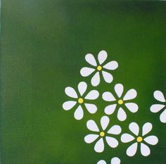 Daisy Field Original Acrylic Painting - Daisy Flowers & Green (Folksy)