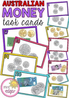 Australian Money task cards that are best suited for Year however, can also be used for Year 3 students. 24 bright and colourful cards that show different monetary values. Students need to add the total amount of coins and/or notes to work out the answer. Money Activities, Math Resources, Toddler Activities, Teaching Money, Teaching Math, Teaching Tools, Teaching Ideas, Year 1 Maths, 4th Grade Math