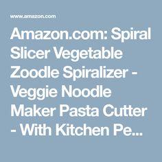 Amazon.com: Spiral Slicer Vegetable Zoodle Spiralizer - Veggie Noodle Maker Pasta Cutter - With Kitchen Peeler Bundle: Kitchen & Dining