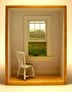 "David Montgomery ~ ""Rachel's Window"" shadowbox working birds studio"