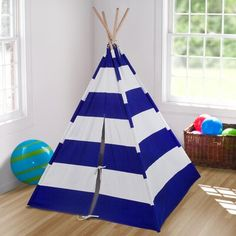 Olive Kids Striped Teepee - Encourage independence and imagination with the Olive Kids Striped Teepee , a child-sized tent that lets your young one play, read, or nap. Kids Play Teepee, Kids Tents, Play Tents, Canvas Teepee, Colorful Playroom, Play Kitchen Sets, Tent Decorations, King Sheet Sets
