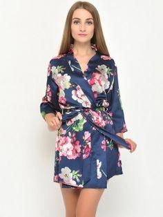 Satin floral robes kimono robes bridesmaid robes-034