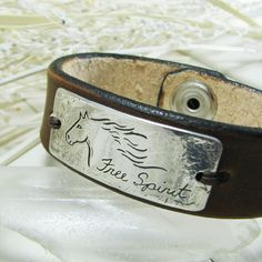 Personalized Fine Silver Horse Link with Leather Cuff Bracelet, Artisan Handmade, Engraved by Hand
