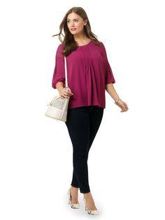 Plus Size MODAMIX Pleat Front Blouse In Violet Quartz