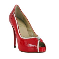 ♥ Christian Louboutin Leather Peep Toe Red Pumps ♥