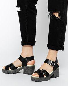 Truffle Collection Platform Cross Strap Heeled Sandals