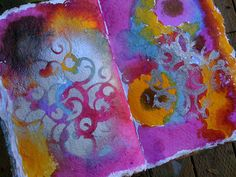 radiant rain, stencil and spray paint background spread in the art journal