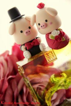 Piggy y cochinillo de la novia y el novio Pastel de por kikuike
