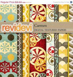 HALF PRICE SALE Scrapbook Textured Papers.. Carmen 10068.. Digital Download