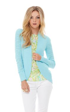 Lilly Pulitzer Amalie Open Front Cardigan in Shorely Blue - spring attire Preppy Mode, Preppy Style, My Style, Classy Style, Spring Summer Fashion, Spring Outfits, Spring Clothes, White Pants Outfit, Open Front Cardigan
