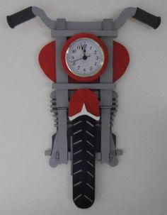 Motorcycle Clock by StansWoodCrafts on Etsy, $30.00