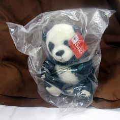 """Gund WWF World Wildlife Fund 25 Years In China Panda Bear Plush Animal 7"""" #GUND"""