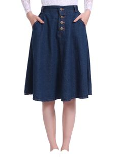 Allegra K Women's High Waist Belt Loop Button Closed Front Pockets Denim Skirts (Size XS / 2)