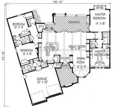Plan #1-1247. Spanish style home with a living S.F. of 2490 (3992 S.F. Total), 2 full baths and 1 half baths. 1 story home, 77' wide, and 74' deep.