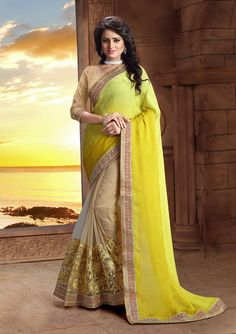 http://www.thatsend.com/shopping/lp/fvp/TESG239142/i/TE311684/iu/yellow-jacquard-half-and-half-saree  Yellow Jacquard Half And Half Saree Apparel Pattern Embroidered. Work Border Lace, Resham. Blouse Piece Yes. Occasion Festive, Diwali. Top Color Beige.