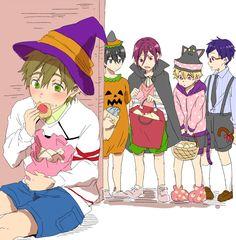 Halloween.  Love Haru's costume and all the saba in his bag ...  Free! - Iwatobi Swim Club, haruka nanase, haru nanase, haru, free!, iwatobi, makoto tachibana, makoto, tachibana, nagisa hazuki, nagisa, hazuki, rei ryugazaki, rei, ryugazaki, rin matsuoka, matsuoka, rin, nanase, halloween