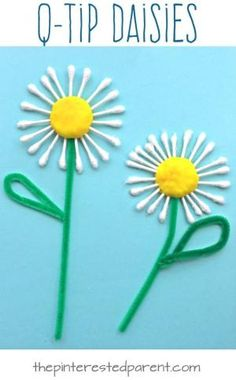 Easy summer craft: a Q-tip daisy! A lovely and easy craft for kindergartners and preschoolers! by angelita