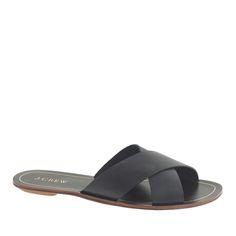 J.Crew women's Cyprus sandals in black.