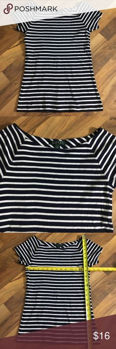 Lauren Ralph Lauren Medium Fitted Striped Tee Top This top is up for sale! Good condition! Cute!  ❤ Navy Blue and white ❤ Striped with unique neckline ❤ Soft Cotton  ❤ Size Measured in Pictures  ✅ Bundle up and save ✅ 🎉 Pair with our jewelry or purses 🎉 Lauren Ralph Lauren Tops Tees - Short Sleeve
