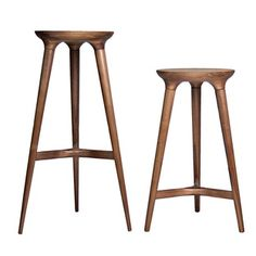 Kingstown Barstools Manufacturer:    Studio Dunn .    Each Kingstown barstool is made from sustainably harvested hardwood sourced from forests in the Midwest and on the East Coast. The stool's production marries traditional handcrafting techniques and modern machining methods, and the structural cross between the legs is made from castoffs and remnants of Studio Dunn's other products.