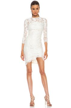 Shop for Lover Mia Asymmetric Nylon-Blend Dress in Ivory at FWRD. Wedding Jitters, Peplum Dress, Dress Up, Lover Dress, Lace Knitting, Summer Dresses, Formal Dresses, White Dress, Cute Outfits